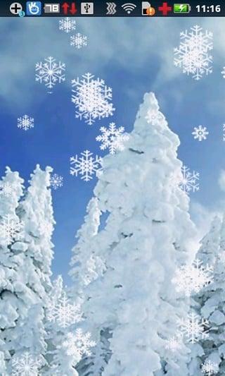 带雪花飘落的图片-冬天雪花飘