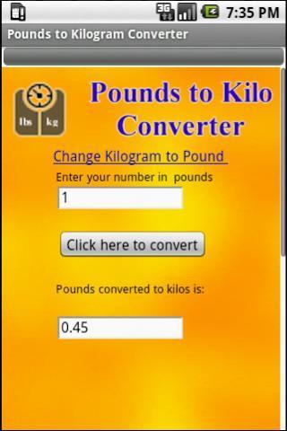 Pounds to Kilogram Converter截图