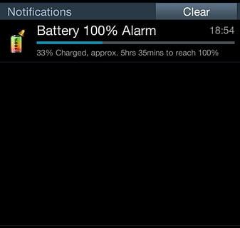 电池100%报警