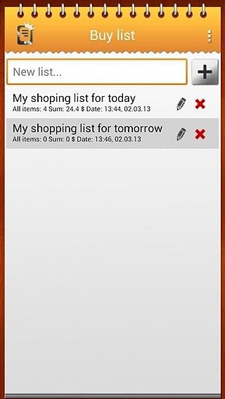 购物清单截图