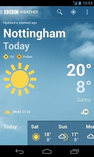 BBC weather截图