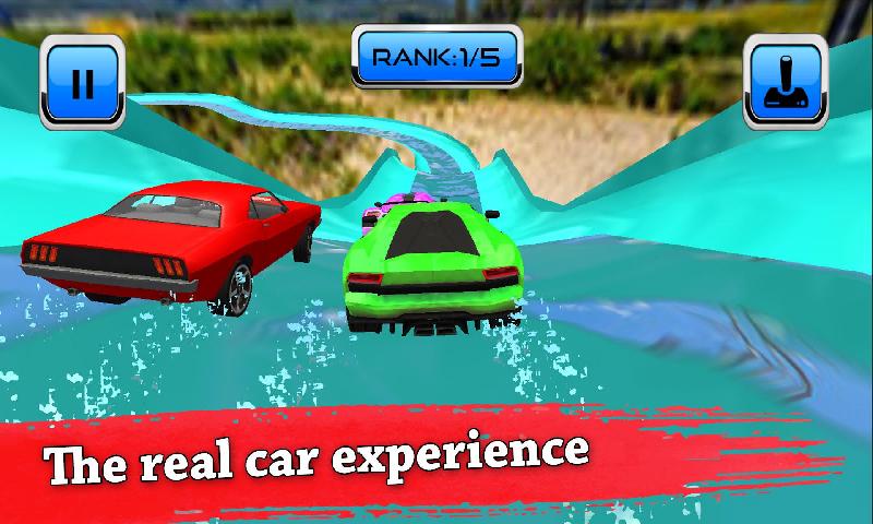 水滑梯汽车特技比赛:水上乐园