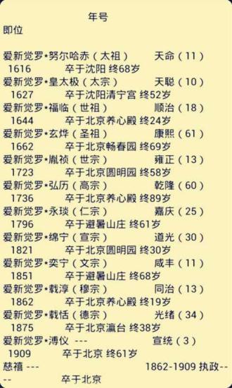 清朝历代皇帝列表