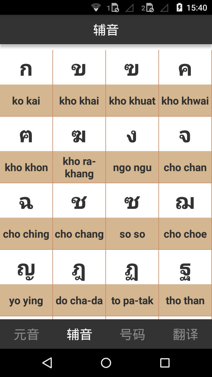 泰语字母表发音