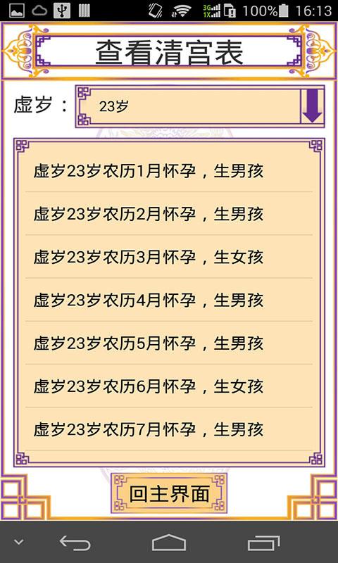 清宫预测表