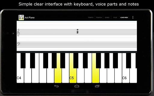 Act Piano: 钢琴音符五线谱演示与练习截图