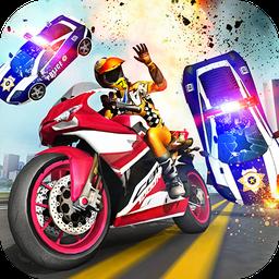 摩托车逃生警察追逐